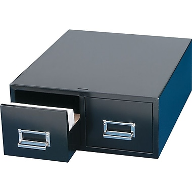 MMF Industries™ STEELMASTER® Card File Drawers, Black, Double, 8 3/8