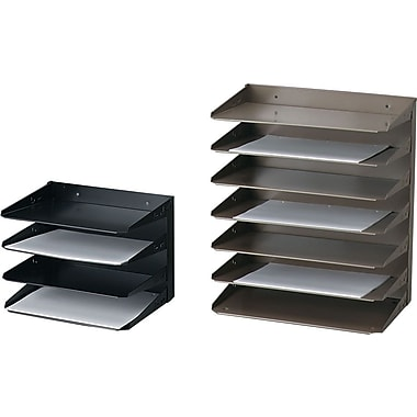 Horizontal Files, Letter Size, Steel, 3 Trays, Stand Alone or Mountable, 12