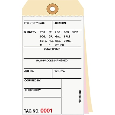 Staples® 3 Part Carbonless Numbered Inventory Tags: 1,500-1,999, 500/Case