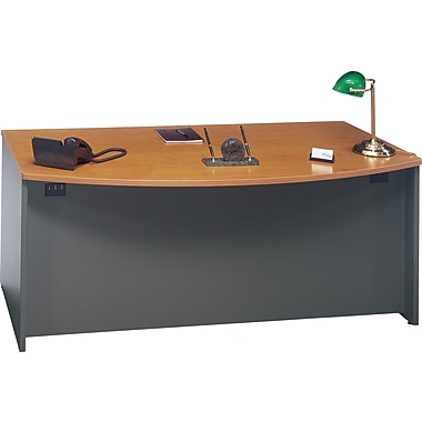 Bush Westfield Bow Front Desk, Natural Cherry and Graphite Gray