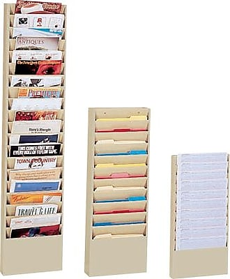 Durham Wide-Pocket Vertical Literature Racks, 20 Pocket, Black