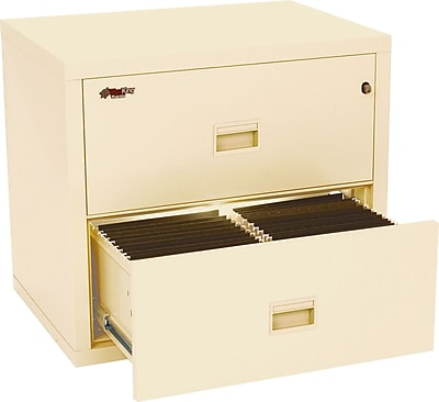 FireKing Compact Turtle Lateral File Cabinet, Letter/Legal, 2-Drawer, Parchment, Includes White Glove Delivery (2R3122CPAI)