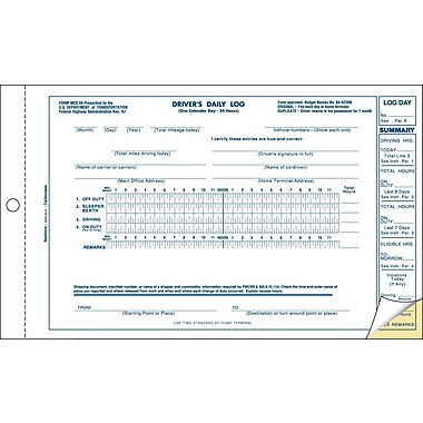 Rediform® Carbonless Driver's Daily Log Forms, 5-1/2