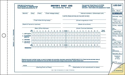 Rediform® Delivery and Receiving Forms, Driver's Daily Log Carbonless Duplicate Book