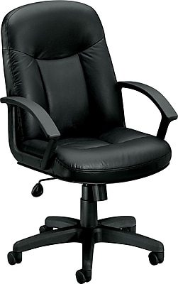 basyx by HON Leather Executive Office Chair, Fixed Arms, Black (HVL601ST11.COM)