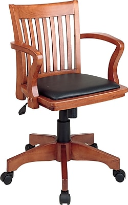 Office Star Mid-Back Classic Wood Banker's Chair; Fixed Arms, Black