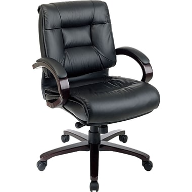 Office Star Leather Executive Office Chair, Fixed Arms, Black/Mahogany (8501)