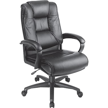 Office Star Leather Executive Office Chair, Black, Fixed Arm (EX5162-G13)