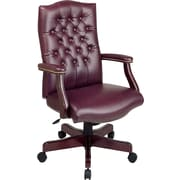 Office Star Burgundy Traditional Executive Chair with Mahogany Wood Finish