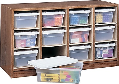 Safco® Wood 12-Bin Supplies Organizer - Bins Included