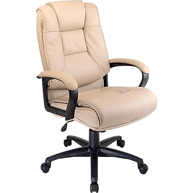 office star™ leather executive office chair, tan, fixed arm