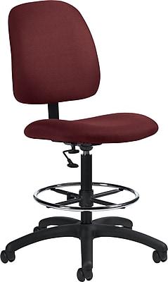 Global Goal Ergonomic Ruby Fabric Drafting Chair, Armless, Ruby