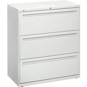 "HON® Brigade™ 800 Series Lateral File Cabinet, 36"" Wide, 3-Drawer, Light Gray"