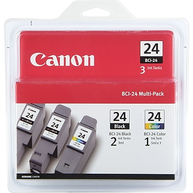 Canon BCI-24 Black and Color Ink Cartridges (6881A039AA), Combo 3/Pack