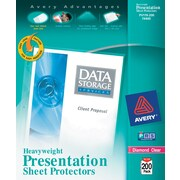 "Avery Heavy-Weight Sheet Protectors, 8.5"" x 11"", Diamond Clear, 200/Box (74400)"