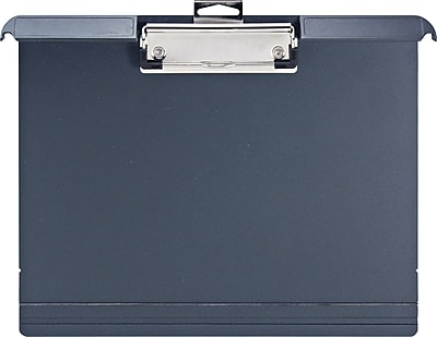 OIC Klip & File™ Landscape Plastic Clipboard, Letter, Charcoal, 9 3/4