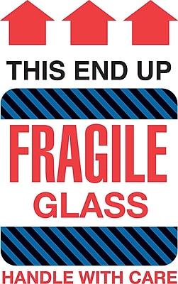 Tape Logic This End Up Fragile Glass Staples® Shipping Label, 4