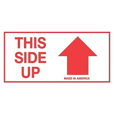 "tape logic® labels, ""this side up"", arrow, 2"" x 4"", red/white, 500"