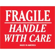 "Tape Logic® Labels, ""Fragile - Handle With Care"", 3"" x 4"", Red/White, 500/Roll"