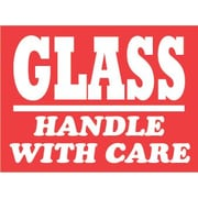 "Tape Logic® Labels, ""Glass - Handle with Care"", 3"" x 4"", Red/White, 500/Roll"