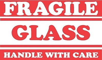 Tape Logic Fragile Glass Handle with Care Staples® Shipping Label, 3