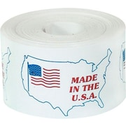 """Tape Logic® Labels, """"Made in the U.S.A."""", 3"""" x 4-1/2"""", Red/White/Blue, 500/Roll"""
