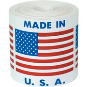 "Labels, ""Made in U.S.A."", 4"" x 4"", Red/White/Blue, 500/Roll"