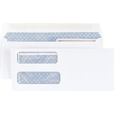 Staples Gummed Laser Double-Window Security-Tint Envelopes, 500/Box (394062/19045)