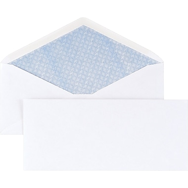 Staples® #10 Security Tinted Business Envelopes, Gummed Closure, White