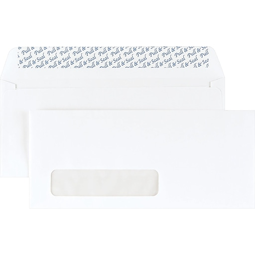 staples easyclose left window 10 envelopes 4 1 8 x 9 1 2 white