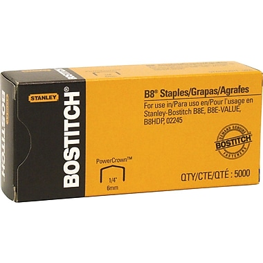 Stanley Bostitch B-8 Staples, 1/4