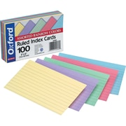 "Oxford® Index Cards, Ruled, Assorted Colors, 4"" x 6"", 100/Pk"