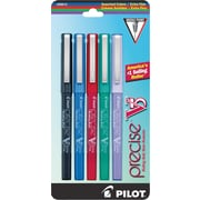 Pilot Precise V5 Premium Rolling Ball Stick Pens, Extra Fine Point, Assorted, 5/Pack (26013)