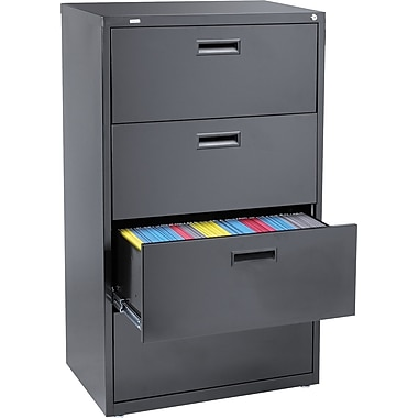 "staples 4-drawer 30""w lateral file cabinet, black, letter/a4/legal"