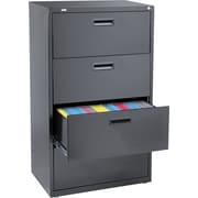 "Staples 4-Drawer 30""W Lateral File Cabinet, Black, Letter/A4/Legal (15216)"