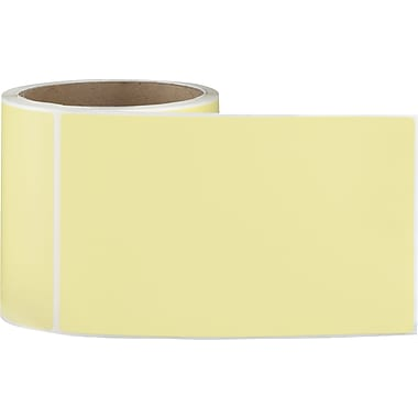 4 x 6 Perfed Yellow Permanent Adhesive Thermal Transfer Roll Sato Compatible Label/Ribbon Kit