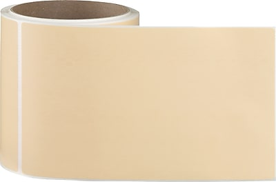4 x 6-1/2 Perfed Orange Permanent Adhesive Thermal Transfer Roll Sato Compatible Label/Ribbon Kit