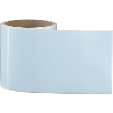 4 x 6-1/2 Perfed Blue Permanent Adhesive Thermal Transfer Roll Sato Compatible Label/Ribbon Kit