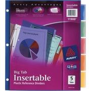 Avery® Multicolored Plastic Insertable Tab Dividers, 5-Tab
