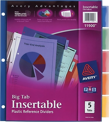 Avery® Big Tab Insertable Plastic Reference Dividers, Multicolor Tabs (11900)