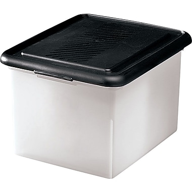 Staples Letter/Legal Tote, Clear w/Black Lid