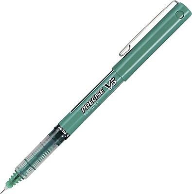 Pilot Precise V5 Premium Rolling Ball Stick Pens, Extra Fine Point (0.5mm), Green, Dozen (25104)