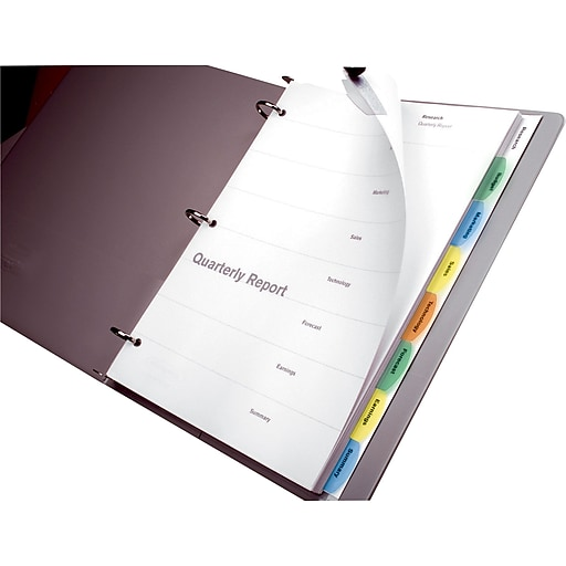 Wilson Jones Multicolor View-Tab Paper Dividers,8-tab | Staples