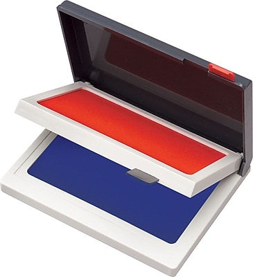Cosco Two-Color Felt Stamp Pads, Red/Blue, 2 3/4
