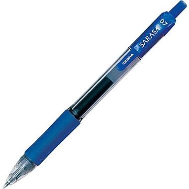 Zebra® Sarasa® Retractable Gel-Ink Pens, Medium Point, Blue, Dozen