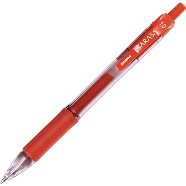 Zebra® Sarasa® Retractable Gel-Ink Pens, Bold Point, Red, Dozen