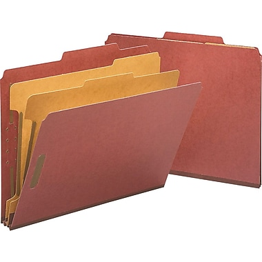 Staples® Top Tab Pressboard Classification Folders, Letter, Red, 2/5 Cut Tab, 2 Partitions, 10/Box (18334)