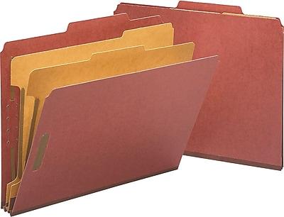 Staples® Top Tab Pressboard Classification Folders, Letter, Red, 2/5 Cut Tab, 2 Partitions, 10/Box (18334)