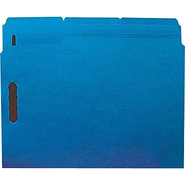 Staples Colored Reinforced Tab Fastener Folders, Letter, Blue, 50/Box