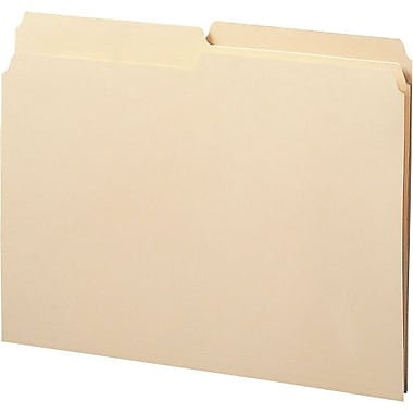 Staples® Manila File Folders, Letter, 2 Tab, Assorted Positions, 100/Box